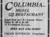 Columbia Hotel Advertisement