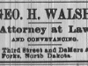 George H. Walsh Advertisement