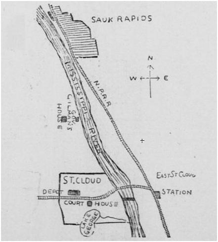 1886 Saint Cloud & Sauk Rapids Map