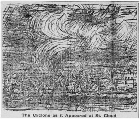 Sketch of 1886 Saint Cloud Tornado