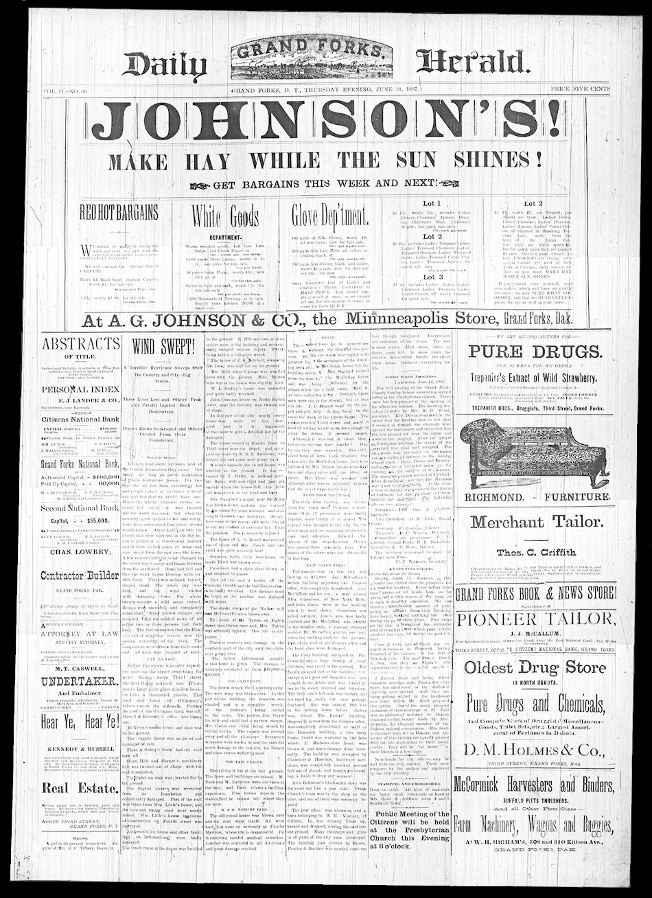 Grand Forks Daily Herald Front Page, June 16, 1887